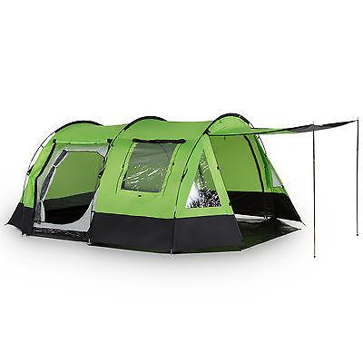 skandika Kambo 4 Person Man Tunnel Camping Tent 3 Entrances Canopy Green New