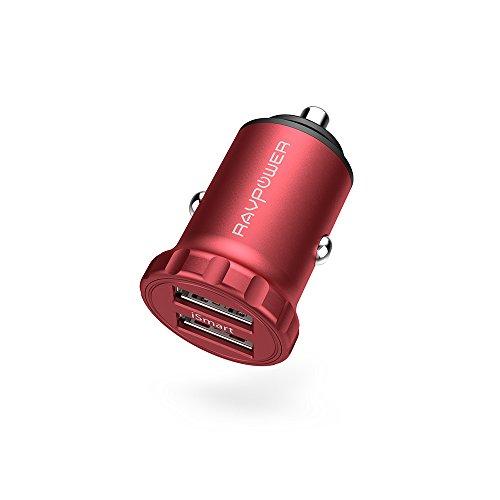 RAVPower Super Mini 24W 4,8A (jeweils 2,4A) 2-Port USB Auto-Ladegerät kfz Car Charger aus Aluminiumlegierung für Smartphone Tablet usw. Rot