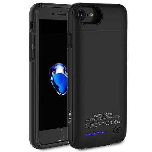 ICHECKEY 3000mAh Akku Hülle für iPhone 6/iPhone 6s/iPhone 7 4.7 Zoll Smart Power Case Automatisch Magnetisch Absorption Akkucase Lithium-Polymer Dünne Batterie Hülle Battery Case (Schwarz)
