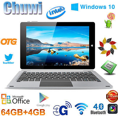 64GB+4GB 10.1'' CHUWI Hi10 Pro Tablet PC Windows10+Android5.1 QuadCore +Keyboard