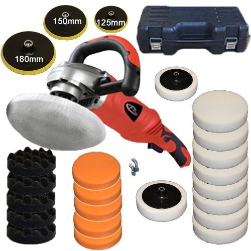 TecTake® Profi Poliermaschine 1400 Watt 0-3000 U/Min stufenlos + Set8