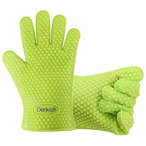 BBQ Handschuhe, Denkich Silikon Grillhandschuhe ,zum Kochen, Barbecue Isolation Pads, 1 Paar, Grün