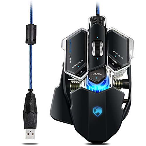 Gaming Maus, ECHTPower Gaming Mouse mit 10 Programmtasten, Metal Bottom, 4000-3500-2500-1000dpi, led, optisch, ergonomisch, USB kabelgebundene Gaming Mäuse für Pro Gamer, verbesserte Version, schwarz