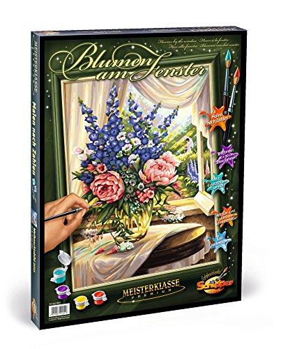 Schipper 609130601 - Malen nach Zahlen - Blumen am Fenster, 40x50 cm
