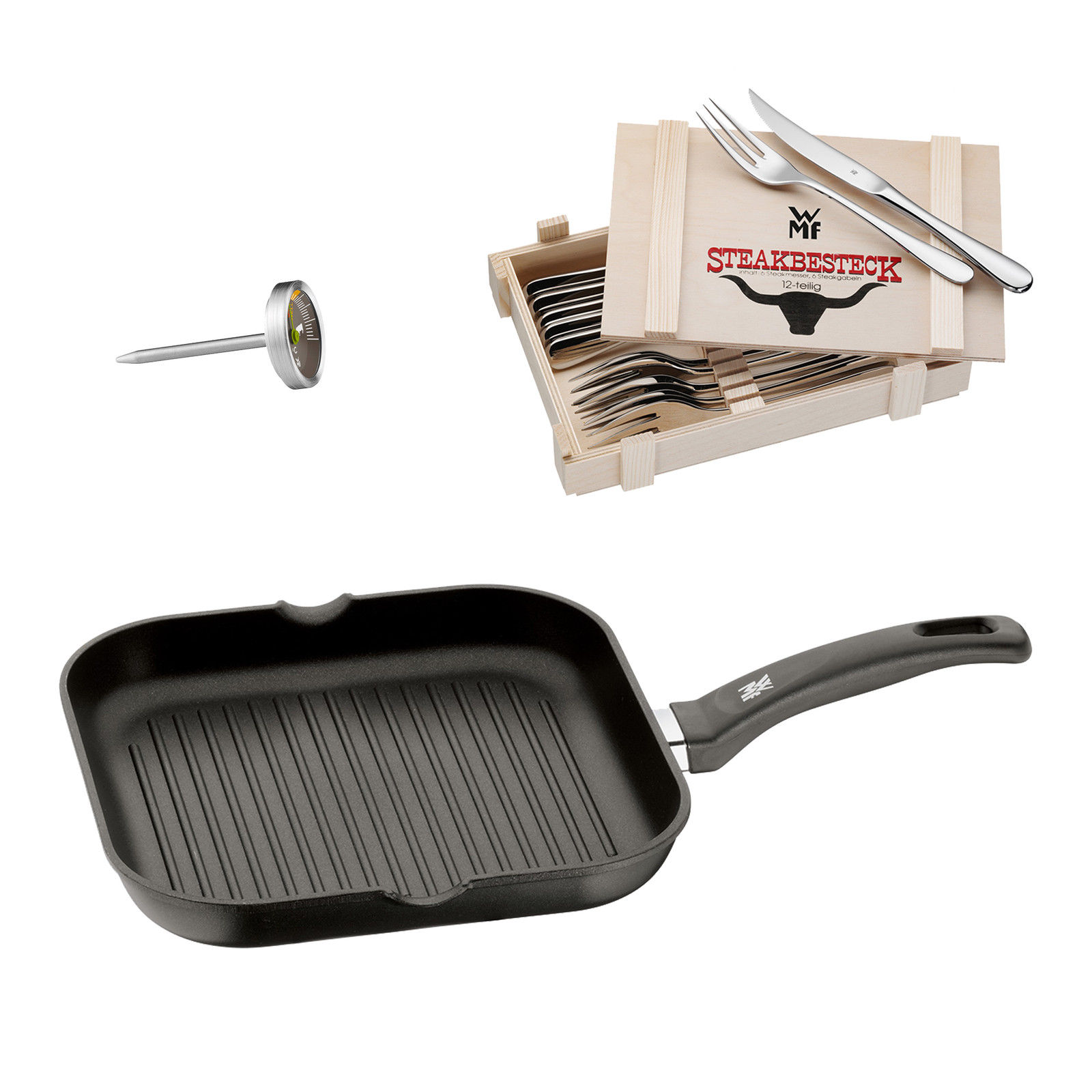 WMF Steak Set 14-tlg; Steakbesteck in Holzkiste, Grillpfanne & Steakthermometer