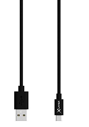 Xlayer 210326 Premium micro-USB High-Speed Design Datenkabel für Smartphone/Tablet (120 cm, 3,5 mm) schwarz/weiß