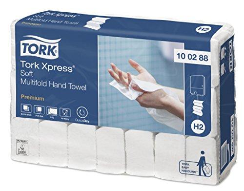 Tork 100288 Xpress weiche Multifold Handtücher Premium hochweiß für Tork H2 Multifold-Systeme / Falthandtücher 2-lagig extra weich & saugstark / 21 x 110 Tücher (34 x 21.2 cm)