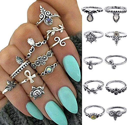 Damen Knuckle Ring Set Boho Frauen Midi Ringe Schmuck Punk Style (10pcs)