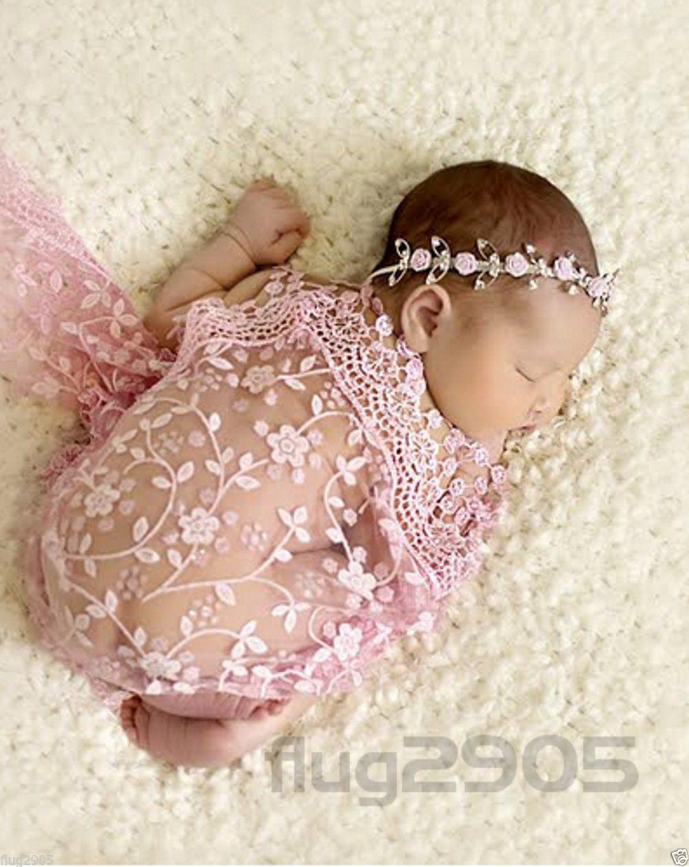 Baby Wrap Pucktuch rosa spitze Fotoshooting Newborn Neugeborenen Fotografie