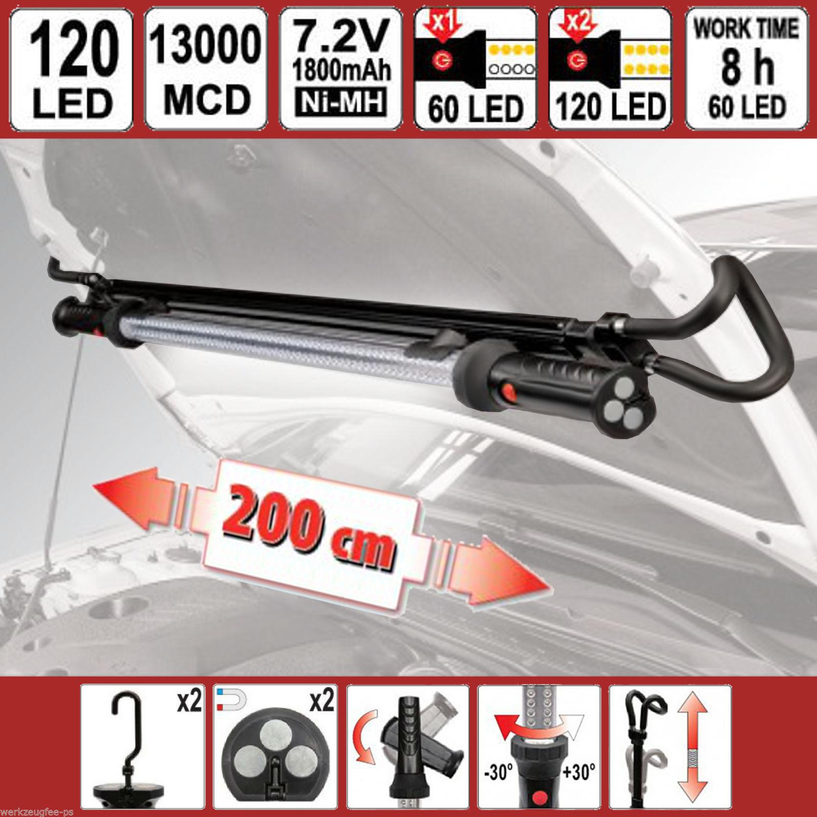 60/120 LED Akku Motorraum-Arbeits-Leuchte Motorhauben-Lampe Werkstatt Stablampe