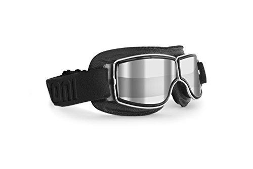Motorradbrille Schutzbrille für Harley Davidson Chopper und Scrambler aus schwarzem Leder und Chrom Rahmen - Bertoni Italy - AF188A