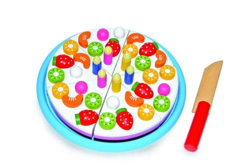 """Schneide """"Geburtstagskuchen"""" aus Holz, leuchtend bunt gestaltet, Früchte und Kerzen sind durch Magnete abnehmbar, 6 Tortenstücke lassen sich mit Hilfe von Klettverbindungen teilen, fördert die Motorik der Hände, fantasievolle Kinderküchen-Zubehör ab 3 Jah"""