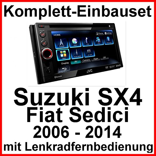 Komplett-Set Suzuki SX4 Fiat Sedici JVC KW-AV61BT Moniceiver Bluetooth CD DVD USB MP3 AUX Autoradio 2-DIN abnehmbares Bedienteil