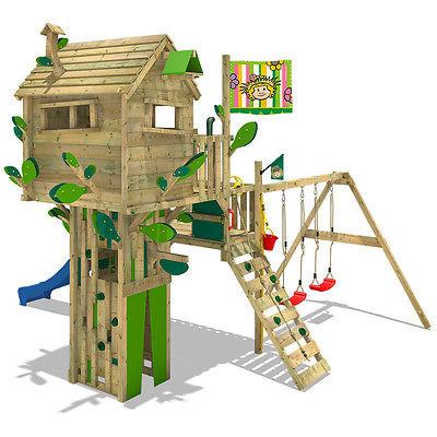 WICKEY Smart Treetop Baumhaus Spielturm Klettergerüst Doppelschaukel Rutsche