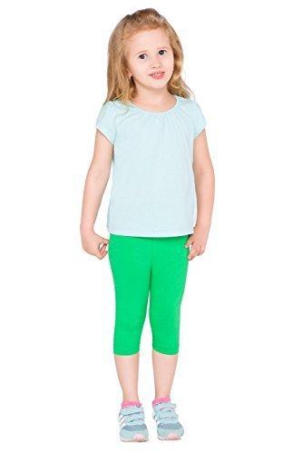 hi!mom Abgeschnitten Kinder 3/4 Baumwollleggings Einfach Einfarbig Kinder Capri Hose 2 jahre - 13 - Grün, 122-128