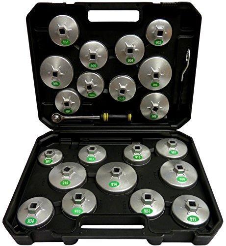 SYTO24, 23tlg. Oelfilter-Kappen, Oelfilter-Werkzeug, Oelfilter-Schluessel, Oelfiler-Glocken aus Aluminium-Druckguss passend zu fast allen gaengigen Oelfiltern