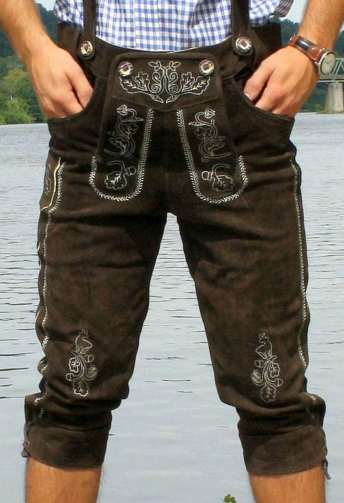 Trachten Lederhose neu Dunkelbraun Modell Wiesn 46-48-50-52-54-56-58-60 + Träger