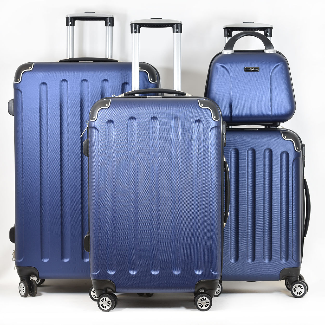 Koffer Trolley Reisekoffer Doppelrollen Hartschale BLAU Kofferset 3 Maße XL-L-M