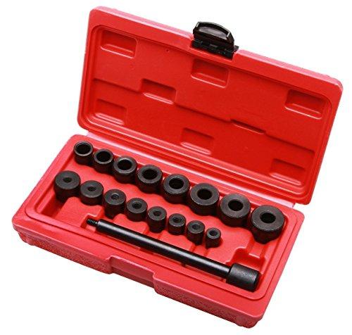 LARS360 17 teiliges Set Kupplungs-Zentrierwerkzeug Kupplungs Justieren Werkzeug Zentrierdorn Einstellwerkzeug mit Spannknopf im Koffer Für VW Audi Ford Opel