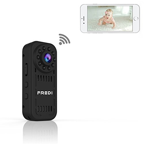 Mini Kamera FREDI 1080P HD Tragbare Kamera Wlan Sicherheit Kamera Kleine IP Kamera Überwachungskamera mit Bewegungserkennung /IR Nachtsicht mit Akku Innen Außen Haus für IOS Andriod iPhone( bis zu 128GB )