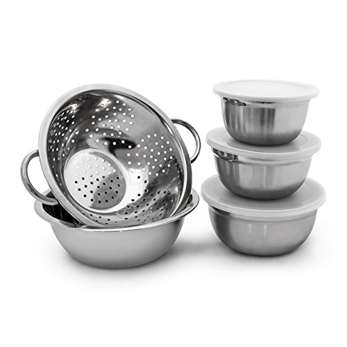 Relaxdays Schüssel Set Edelstahl 5-teilig Salatschüsseln mit den Durchmessers 14 / 16 / 18 und 24 cm als Rührschüsseln oder allgemeine Küchenschüssel mit Deckel samt Abtropf-Sieb für Nudeln, silber