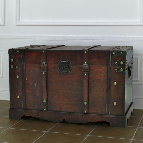 Robuste Schatztruhe Holztruhe Truhe mittel Handarbeit Kiste Schatzkiste Holzbox