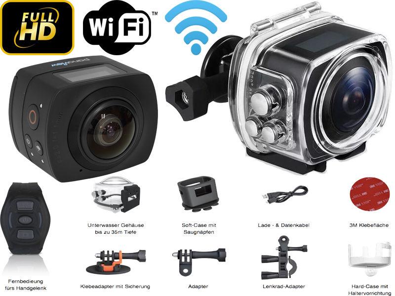 360 Grad Action Kamera - HD1080P 30FPS Wasserdicht - Helmkamera 220° Weitwinkel