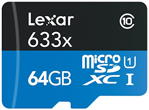 Lexar High-Performance microSDXC 633x 64GB UHS-I-Speicherkarten w/SD Adapter - LSDMI64GBBEU633A