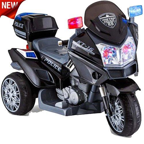 US HighWay Patrol POLIZEI MOTORRAD Elektro Kindermotorrad Roller Kinderfahrzeug (Schwarz)