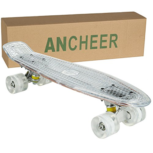 Ancheer Mini-Cruiser-Skateboard 55cm Skateboard mit oder ohne LED Deck,alle mit LED Leuchtrollen,mit USB Kabel aufzuladen,Farbe:Deck in Weiß mit LED / Rollen in Weiß mit LED