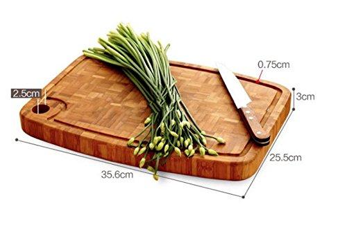 Schneidebrett aus Bambus - 35,6x25,3x3 cm - Echtes Stirnholz - Mit praktischer Saftrille - Extra dick