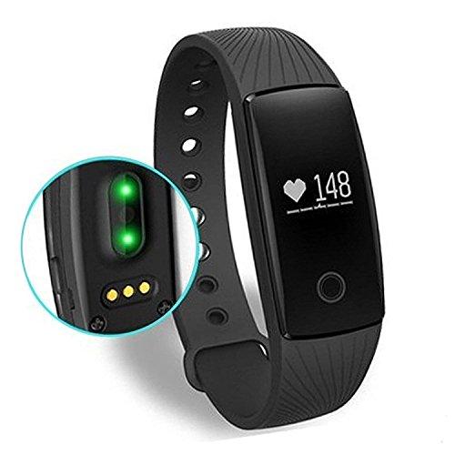 AsiaLONG Fitness Armband Mit puls Bluetooth Fitness Activität Tracker Schrittzähler Armbanduhr mit Herzfrequenz / Schlafanalyse / Kalorienzähler / SMS SNS Vibration für Android und IOS Smartphones (SW321)