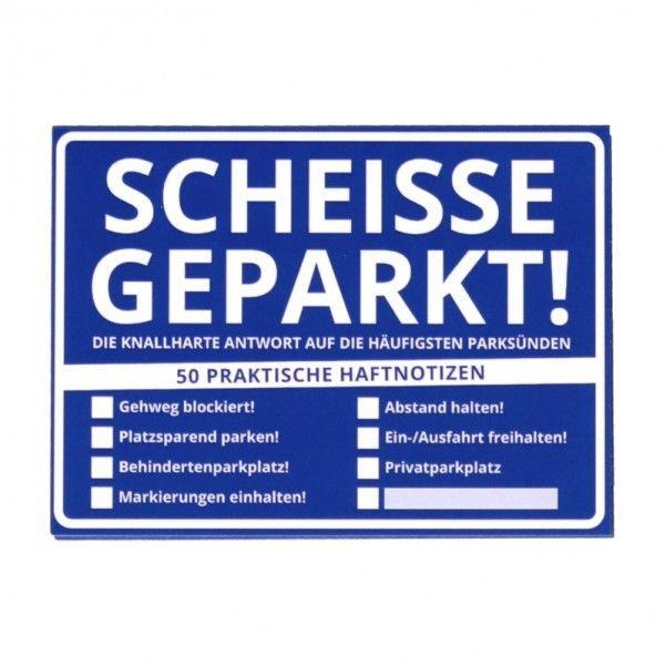 Haftnotizen Scheisse Geparkt! mit Softcover Klebezettel Scheiße im 50er Set