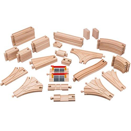 Playbees Holz Eisenbahnschienen Set 59 Teile, Kompatibel mit Brio und Eisenbahnschienen anderer Marken