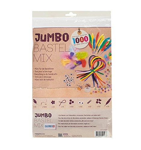 Glorex Jumbo-Bastelmix - Set mit mehr als 1000 Teilen, ideal zum Basteln mit Kindern