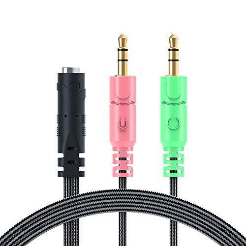 MillSO 3,5mm Audio Klinke Y Kabel Adapter -1 x 3,5mm 4 Position Buchse 2 x 3,5mm 3 Position Stecker für PC PS4 Gaming Kopfhörer - 100CM Schwarz