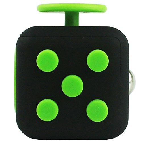 Fidget Cube Anti-Stress-Anti-Nervosität-Würfel/-Spielzeug 6 Seiten Knöpfe für Erwachsene und Kinder Bestes Geschenk und Entspannungs-Hilfe mit Spaßfaktor für Zappelphillips und andere Herumzappler (Grün/Schwarz)