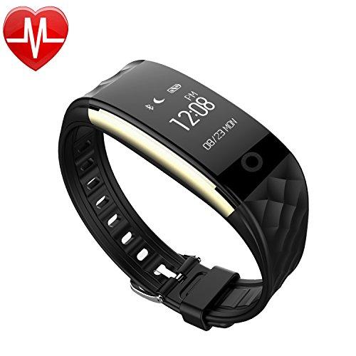 AsiaLONG Fitness Armband Herzfrequenz, Schrittzähler Armbanduhr Bluetooth Fitness Tracker mit Pulsmesser, Schlafanalyse, Aktivität Kalorienzähler, Schlaftracker, SMS Anrufe Reminder für iPhone Samsung iOS und Android Smartphones (Schwarz)