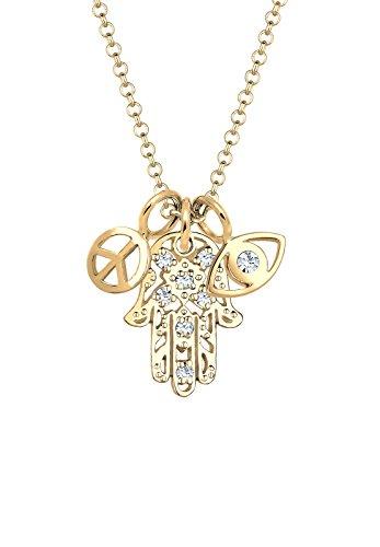 Elli Damen-Kette mit Anhänger Hamsa Hand Peace-Zeichen Evil Eye 925 Silber vergoldet weiß Rundschliff Swarovski Kristalle 45 cm 0102340217_45