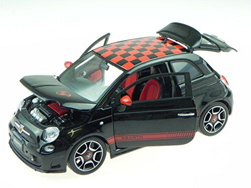 Fiat 500 2007 Abarth schwarz Dach Karo Modellauto 12078 Bburago 1:18