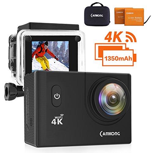 CAMKONG Action Cam 4K WIFI Sports Camera 4K 20MP Ultra Full HD Helmkamera wasserdicht mit 2 1350mAh verbesserten Batterien Transporttasche und Zubehör Kits