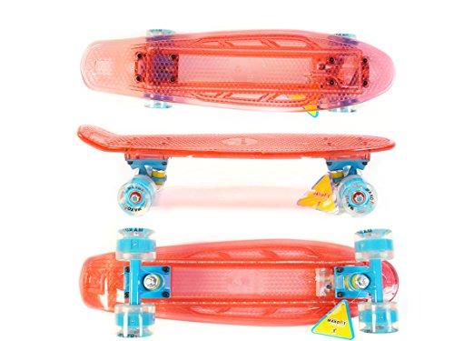 : MAXOfit® Mini LED Skateboard ROT 55 cm (22 Zoll), mit integriertem LED Lichtband und LED Rollen