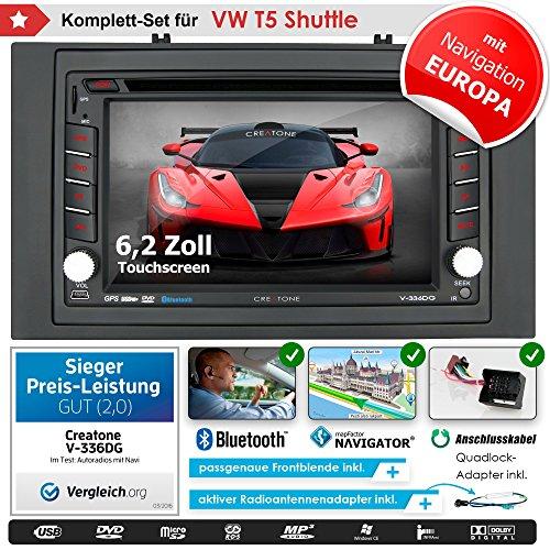 2DIN Autoradio CREATONE V-336DG für VW T5 Shuttle (vor Facelift 2003 - 2009) mit GPS Navigation (Europa), Bluetooth, Touchscreen, DVD-Player und USB/SD-Funktion