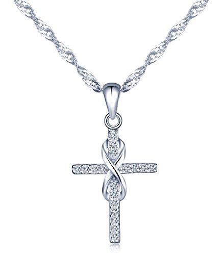 Unendlich U Fashion Kreuz Unendlichkeit Symbol Damen Halskette 925 Sterling Silber Zirkonia Anhänger Kettenanhänger, Silber