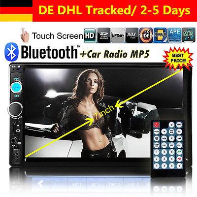 Autoradio 7'' 2 Din Bluetooth Touchscreen MP3 MP5 Radio Player USB AUX SD 1080P
