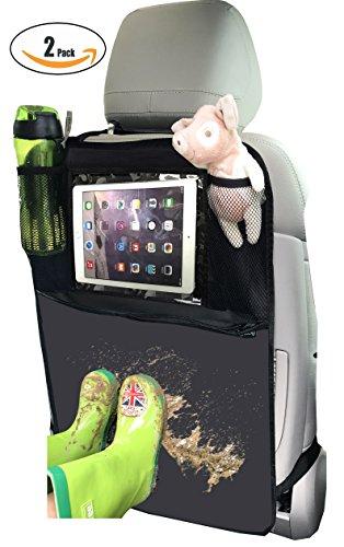 Termichy Auto-Rückenlehnenschutz, Rückenlehnen-Tasche, Trittschutz mit Rücksitz-Organizer? Rücksitzschoner, Kick-Matten-Schutz für den Autositz mit durchsichtigem extra großen iPad-Tablet-Halter, Tablet-Fach, welcher vollen Schutz durch sein wasserdicht