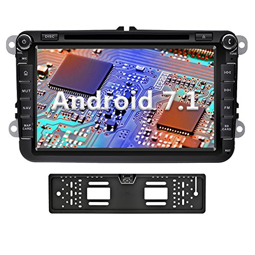YINUO 8 Zoll 2 Din Android 7.1.1 Nougat 2GB RAM Quad Core Autoradio Moniceiver DVD GPS Navigation 1080P OEM Stecker Canbus 7 Farbe Tastenbeleuchtung für VW Volkswagen SEAT Skoda Golf Polo Jetta Passat Touran Unterstützt DAB+ Bluetooth OBD2 Wlan mit Rückse