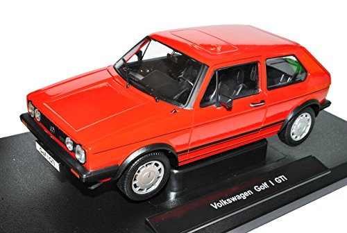 VW Volkswagen Golf I GTI Rot 3 Türer 1974-1983 1/18 Welly Modell Auto mit individiuellem Wunschkennzeichen