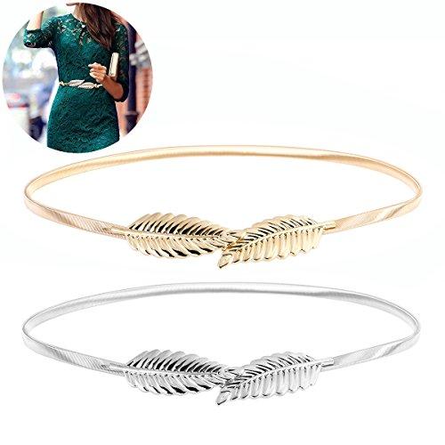 OULII Stretchgürtel Damen Stretch Gürtel Taillengürtel Hüftgurt Blätter Floral elastischer Gürtel 2pcs (Golden Silber)