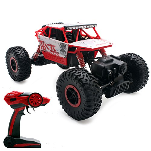 2,4Ghz Remote Control Rock Crawler RC Monstertruck 4WD 1:18 Ferngesteuertes Auto RTR Off-Road Fahrzeug Buggy Red Conqueror